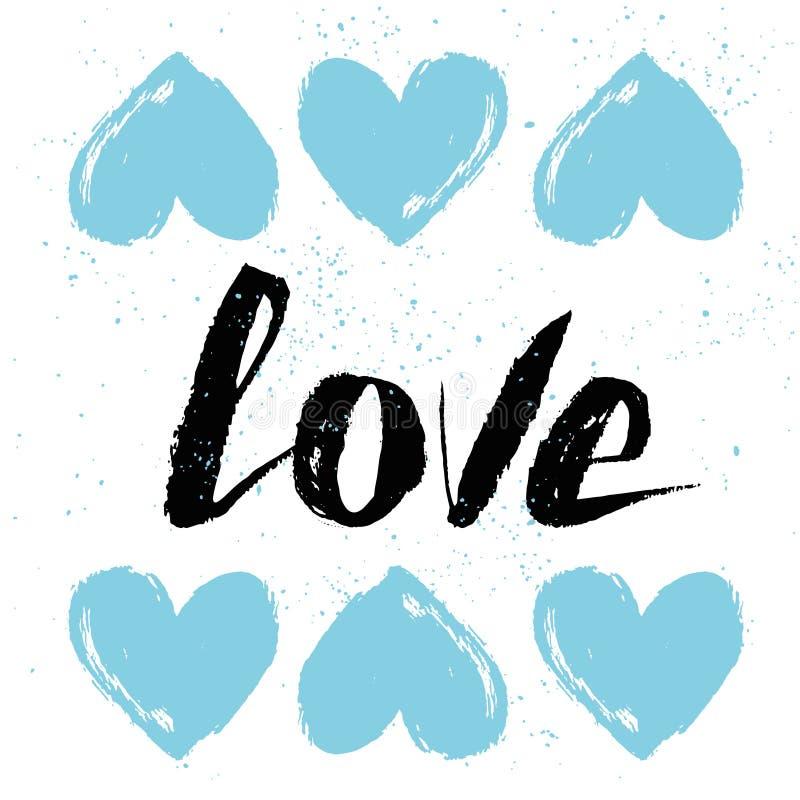 Dirigez la texture de cru Carte de voeux de lettrage de main Amour encre illustration stock