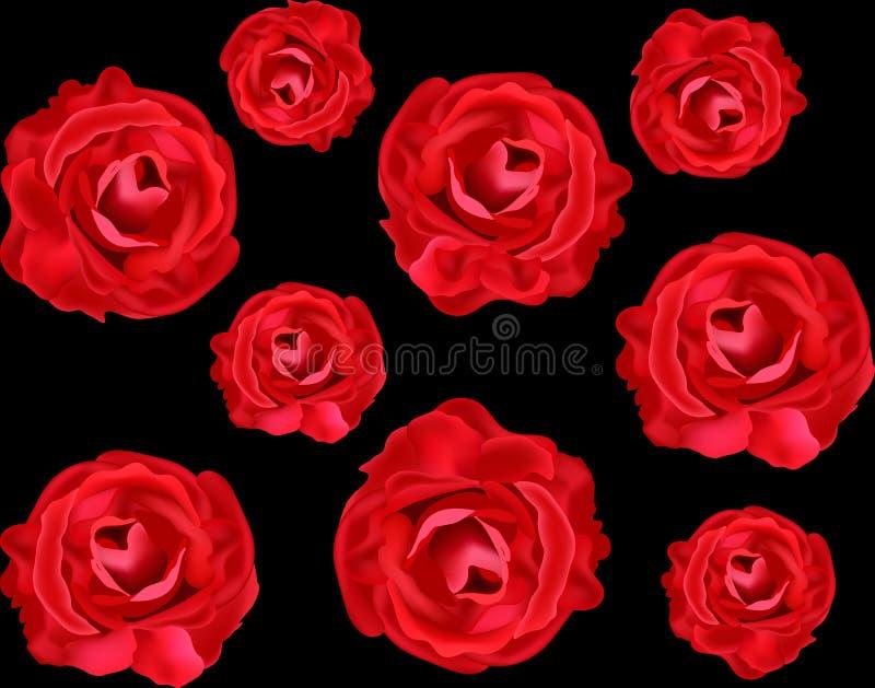 Dirigez la texture sans couture florale avec les roses rouges réalistes illustration stock