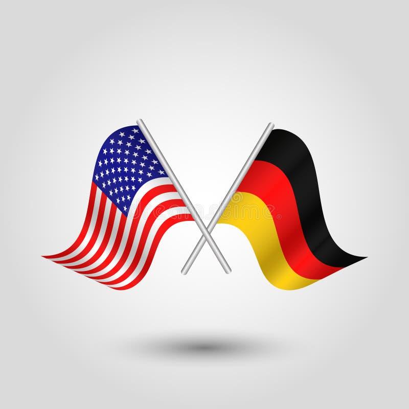 Dirigez la triangle de ondulation deux a croisé les drapeaux américains et allemands sur le poteau argenté incliné - icône Etats- illustration stock