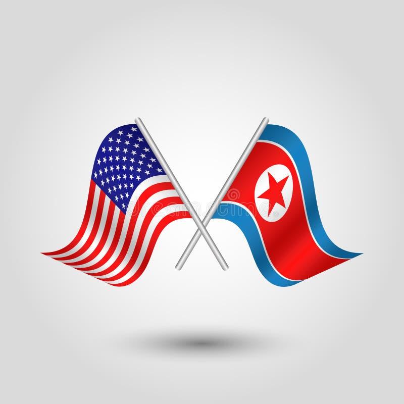 Dirigez la triangle de ondulation deux a croisé les drapeaux américains et coréens sur le poteau argenté incliné - icône des Etat illustration stock