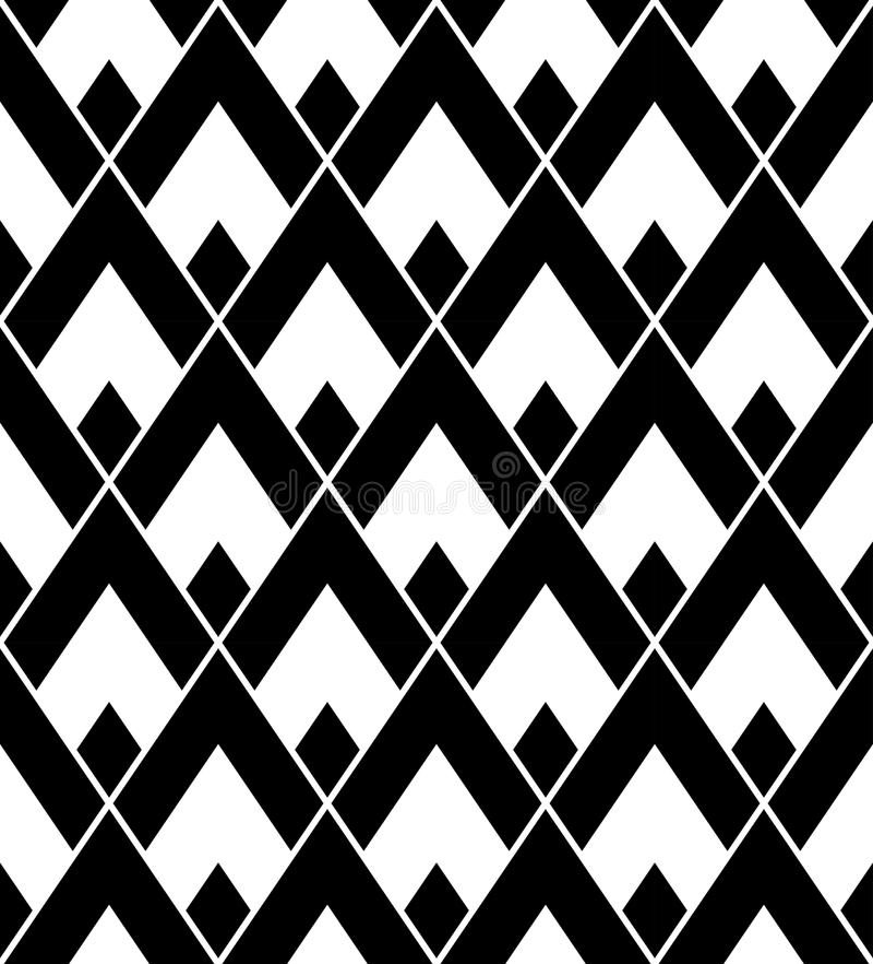 Dirigez la triangle sans couture moderne de modèle de la géométrie, résumé noir et blanc illustration stock