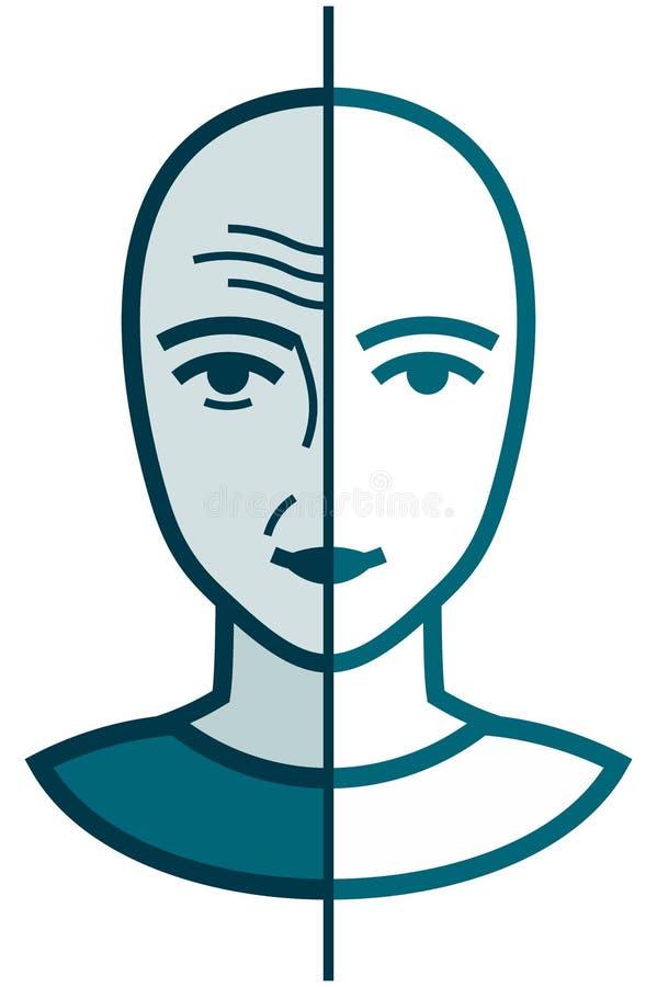 Dirigez la vieille et jeune illustration d'isolement sur le blanc illustration de vecteur