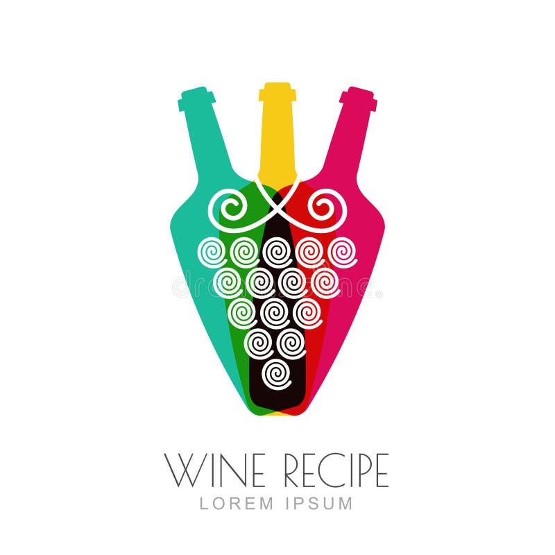 Dirigez la vigne et les bouteilles de vin, conception négative de logo de l'espace illustration de vecteur