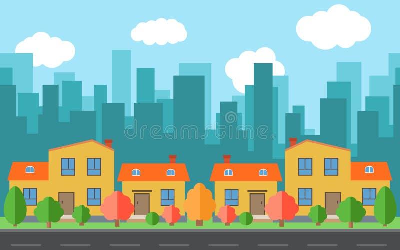 Dirigez la ville avec quatre maisons et bâtiments de bande dessinée L'espace de ville avec la route sur le style plat illustration stock
