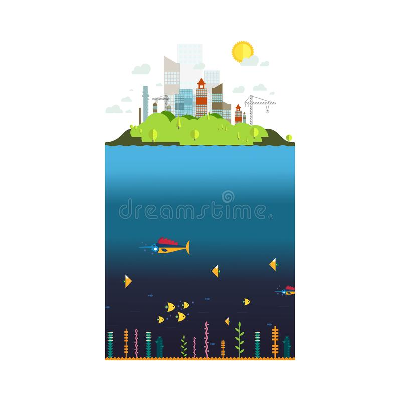 Dirigez la ville, le bâtiment urbain et le fond sous-marin photo stock