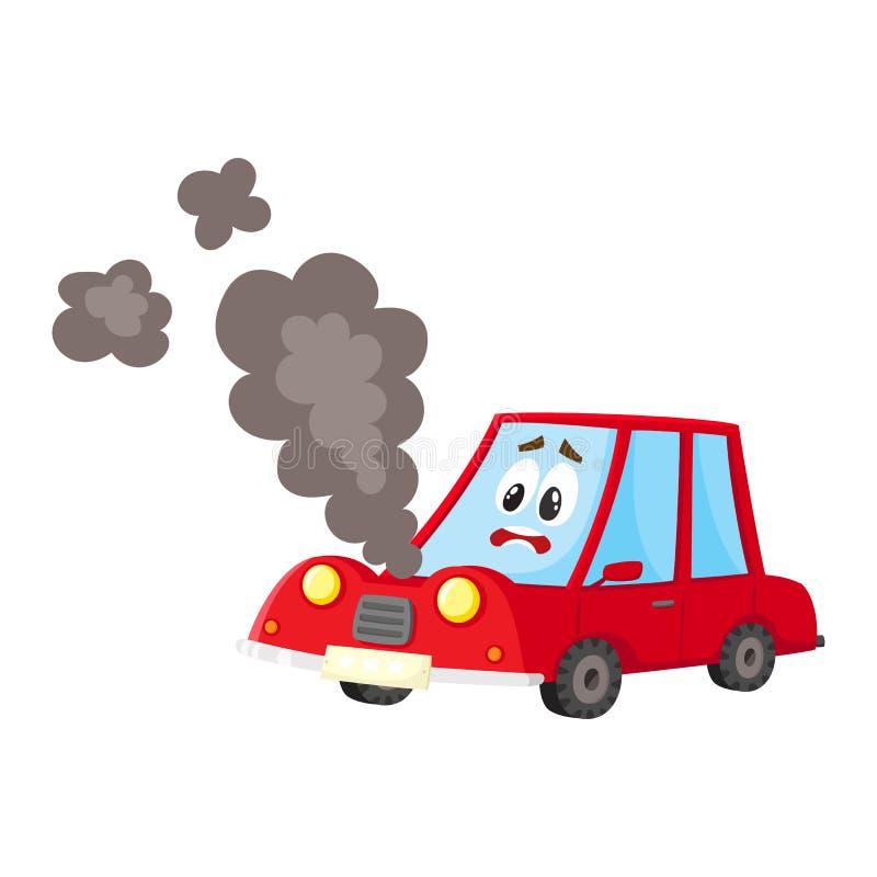 Dirigez la voiture cassée, le verre criqué, fumée de capot illustration libre de droits