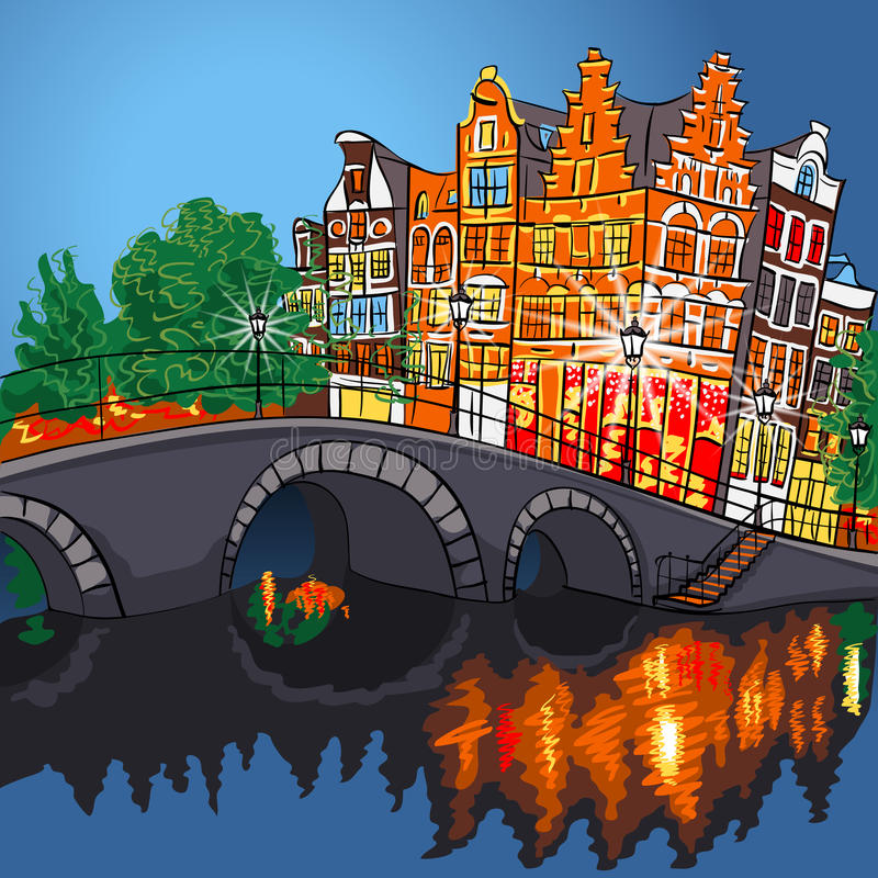 Dirigez la vue de ville de nuit du canal et du pont d'Amsterdam illustration stock