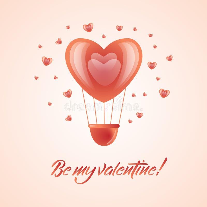 Dirigez le ballon heureux de coeur d'air chaud de jour de valentines illustration libre de droits
