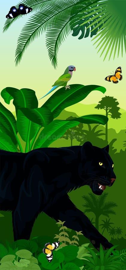 Dirigez le baner vertical de forêt tropicale de jungle avec la panthère noire de jaguar ou de léopard, les papillons et le perroq illustration de vecteur