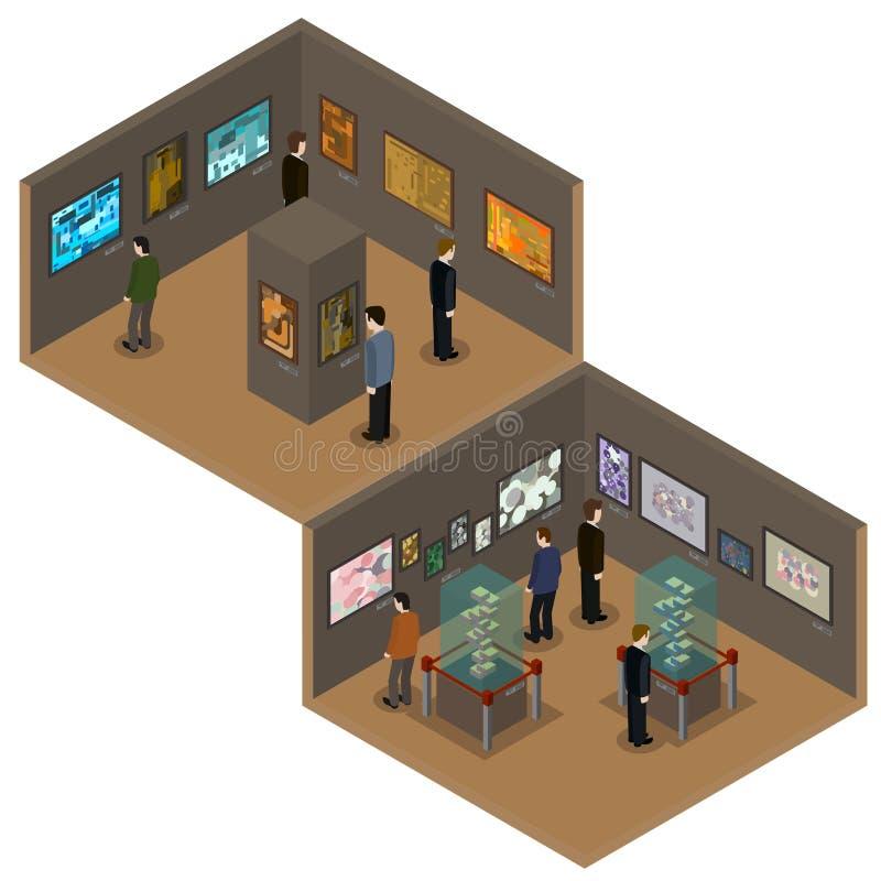 Dirigez le bas poly intérieur isométrique de galerie de musée ou d'art photos libres de droits