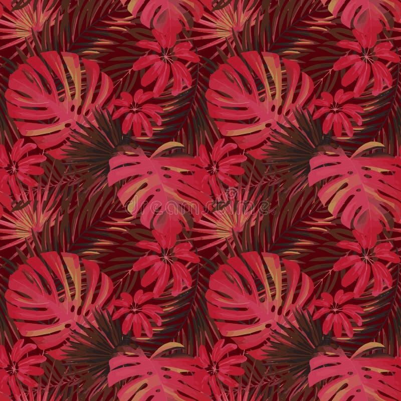 Dirigez le beau modèle tropical lumineux artistique sans couture avec la feuille de monstera, fronde, feuille fendue, philodendro illustration libre de droits