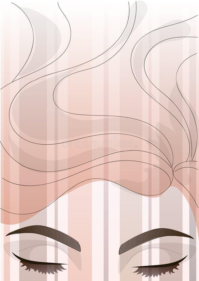 Dirigez le bel oeil avec la correction des sourcils et du fond de cheveux illustration stock