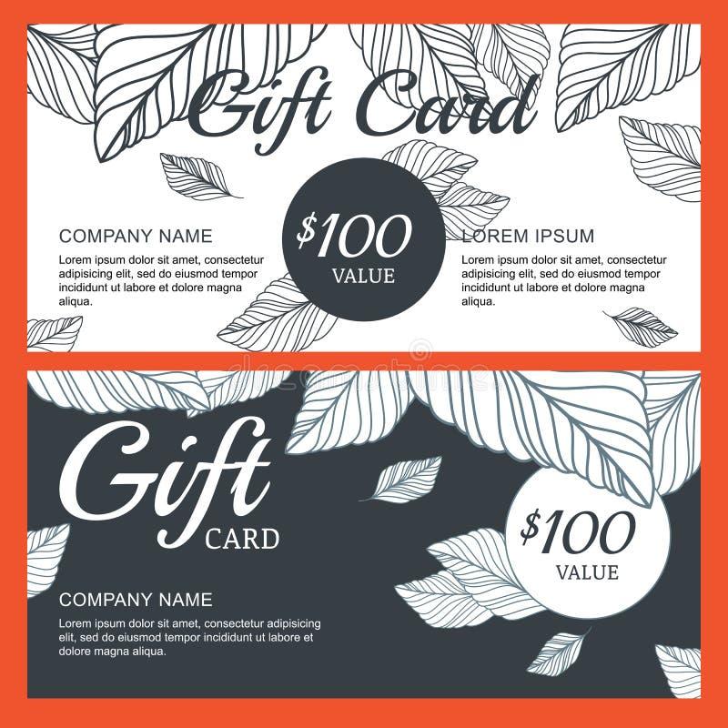 Dirigez le bon de cadeau, calibre de carte avec les feuilles d'automne tirées par la main illustration stock