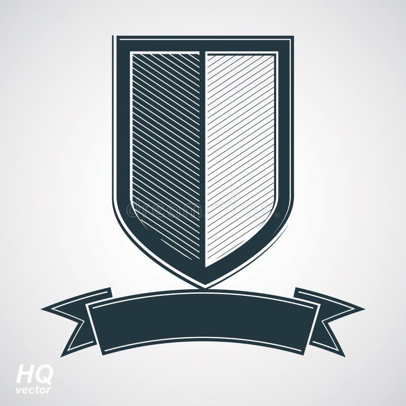 Dirigez le bouclier de la défense de gamme de gris avec le ruban sinueux, élément de graphique de conception de protection illustration de vecteur
