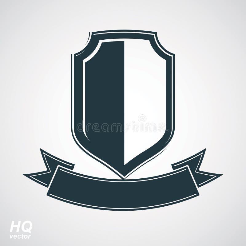 Dirigez le bouclier gris de la défense avec le ruban sinueux stylisé illustration de vecteur