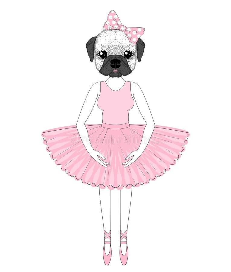 Dirigez le bouledogue français mignon dans la robe comme la ballerine A tiré par la main illustration libre de droits