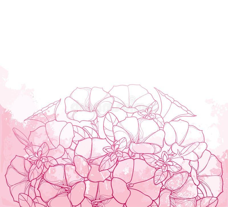 Dirigez le bouquet avec la fleur de pétunia d'ensemble, la feuille fleurie et le bourgeon dans le rose sur le fond texturisé de r illustration libre de droits