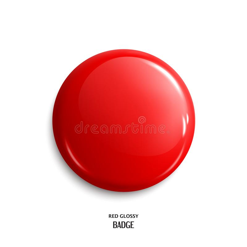 Dirigez le bouton brillant rouge vide d'insigne ou de Web Vecteur illustration de vecteur