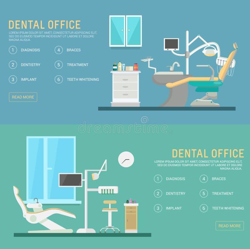 Dirigez le bureau dentaire de bannières plates avec des outils de siège et d'équipement Illustration médicale de fauteuil Calibre illustration stock
