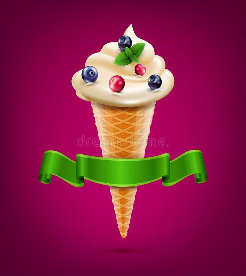 Dirigez le cône de gaufrette avec de la crème (crème glacée) avec les baies et la menthe illustration de vecteur