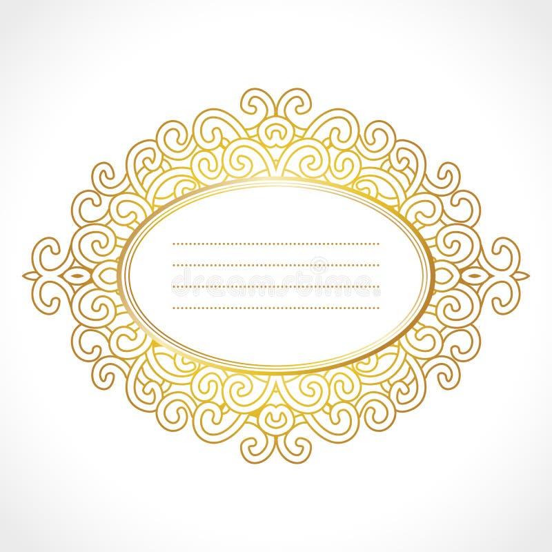 Dirigez le cadre baroque d'or avec l'ornement ovale horisontal exclusif, conception décorative de vintage illustration de vecteur