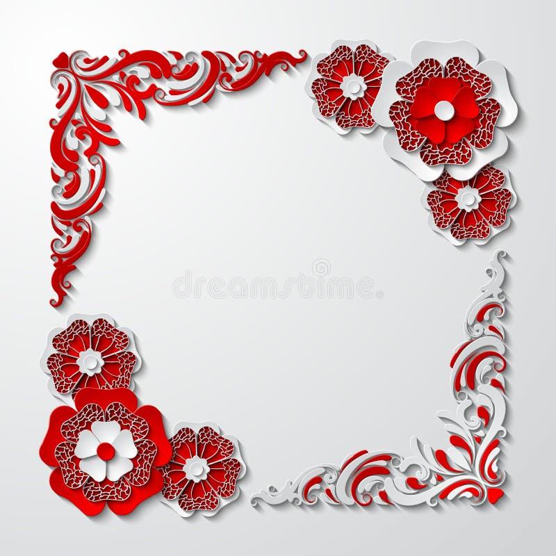 Dirigez le cadre carré de vintage avec des fleurs coupées du papier 3d dans des couleurs rouges et blanches illustration libre de droits