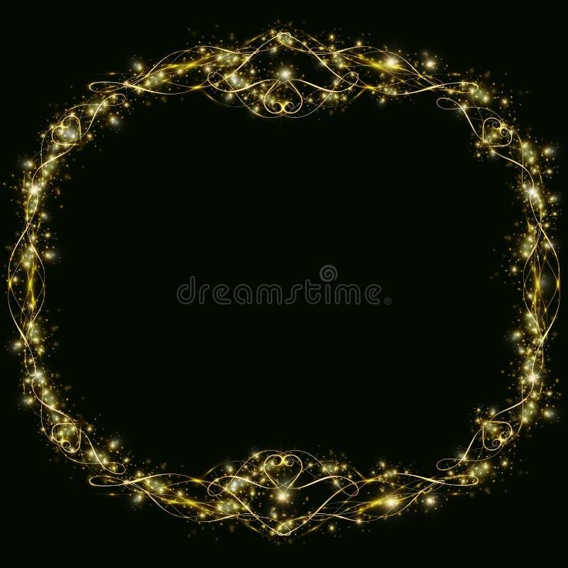 Dirigez le cadre d'or avec des effets de coeurs de lumi?re Préparation pour Noël de carte postale épousant le cadre rond brillant illustration stock