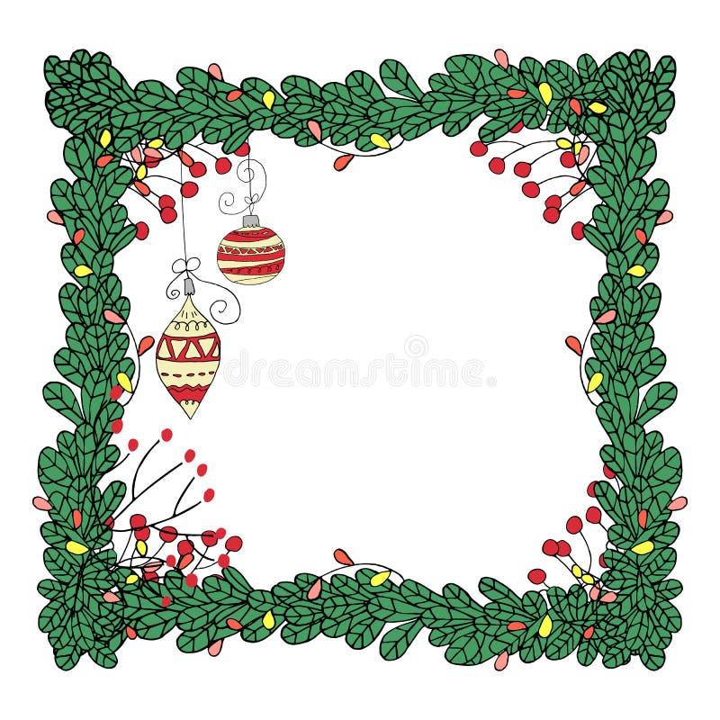 Dirigez le cadre de Noël avec des branches de sapin et le style dessiné de guirlandes à disposition illustration stock