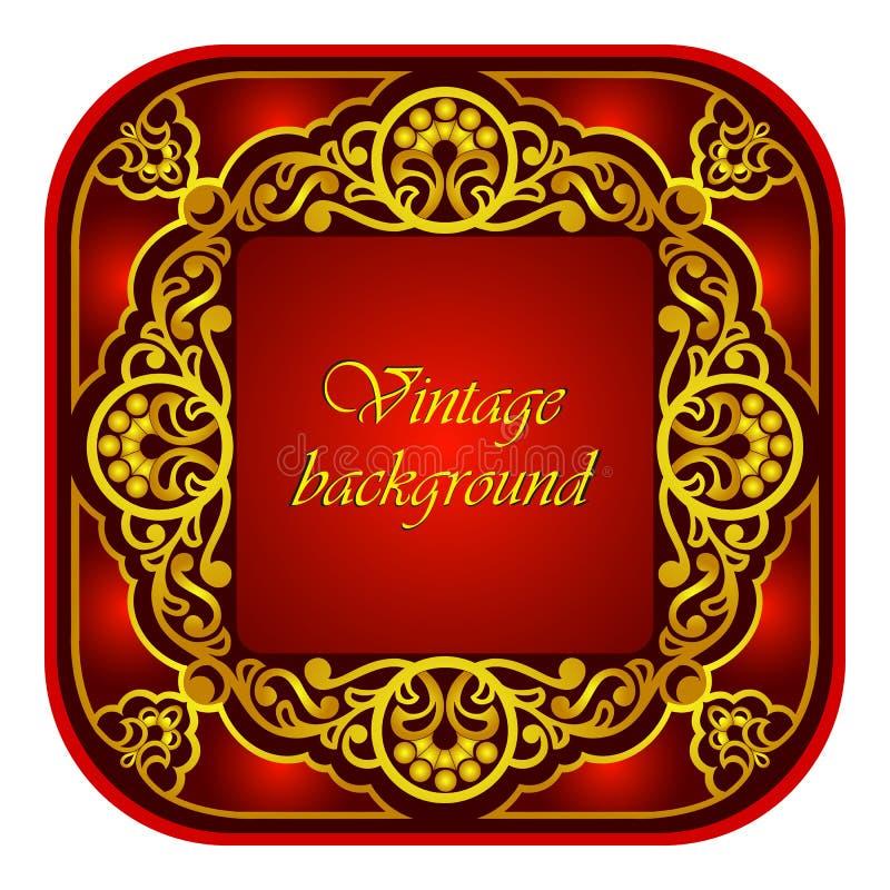 Dirigez le cadre ornemental oriental décoratif avec le modèle d'or floral dans le style Arabe Le style royal luxueux comme fond illustration libre de droits