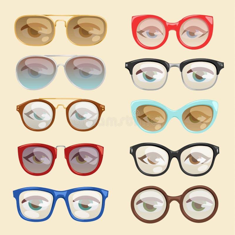 Dirigez le cadre ou les lunettes de soleil dans les formes et les accessoires de monocle de bande dessinée de yeux de visage en v illustration de vecteur