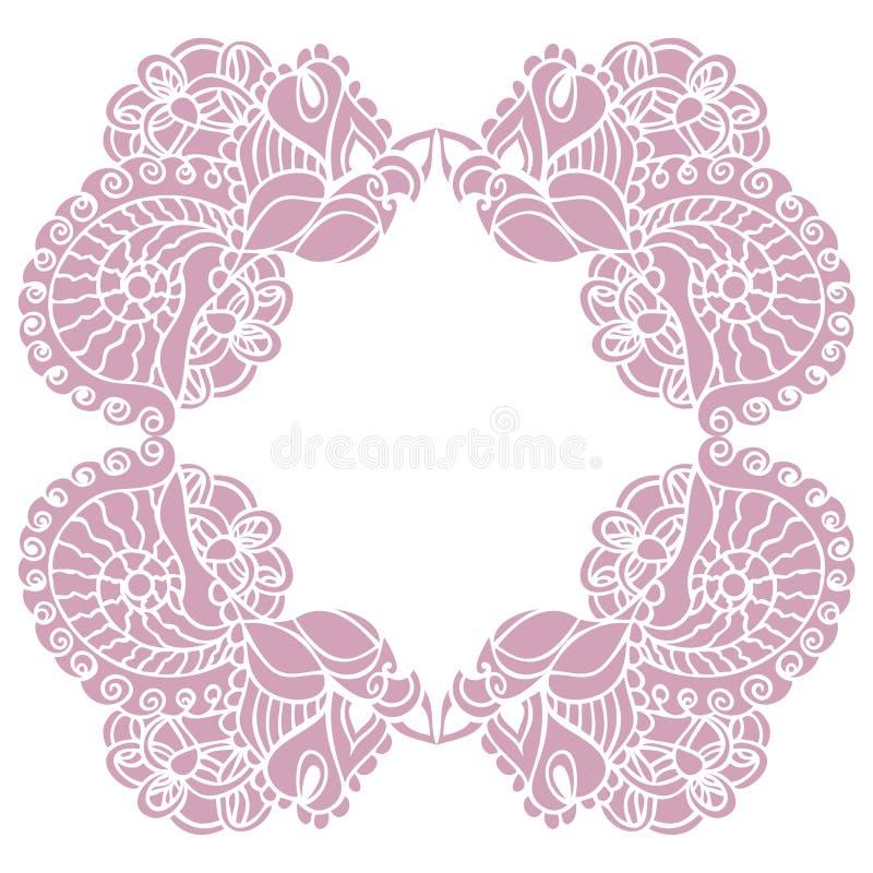 Dirigez le cadre rose décoratif de Paisley pour le calibre de conception illustration de vecteur
