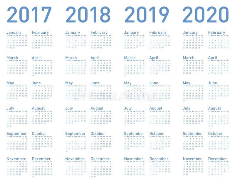 Dirigez le calendrier bleu pendant des années 2017, 2018, 2019 et 2020 illustration de vecteur