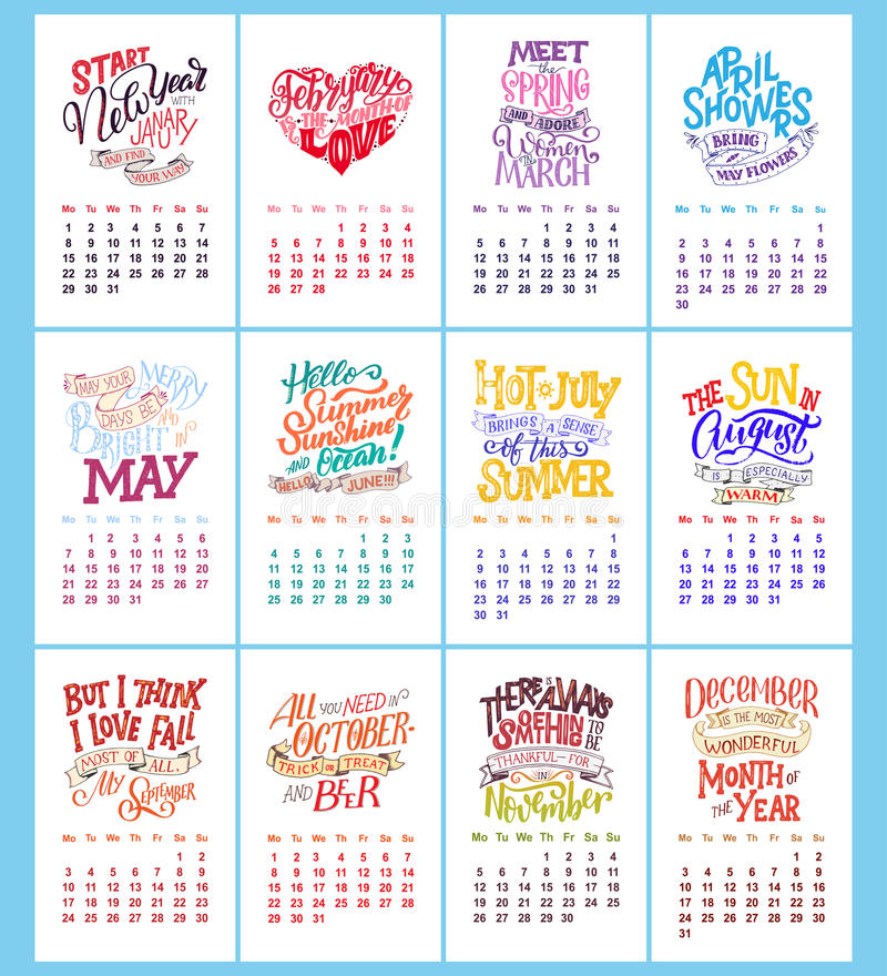 Dirigez le calendrier pendant des mois 2 0 1 8 Citations tirées par la main de lettrage pour la conception de calendrier illustration stock