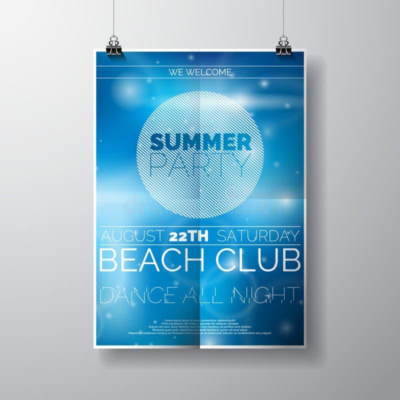 Dirigez le calibre d'affiche d'insecte de partie sur le thème de plage d'été avec le fond brillant abstrait illustration stock