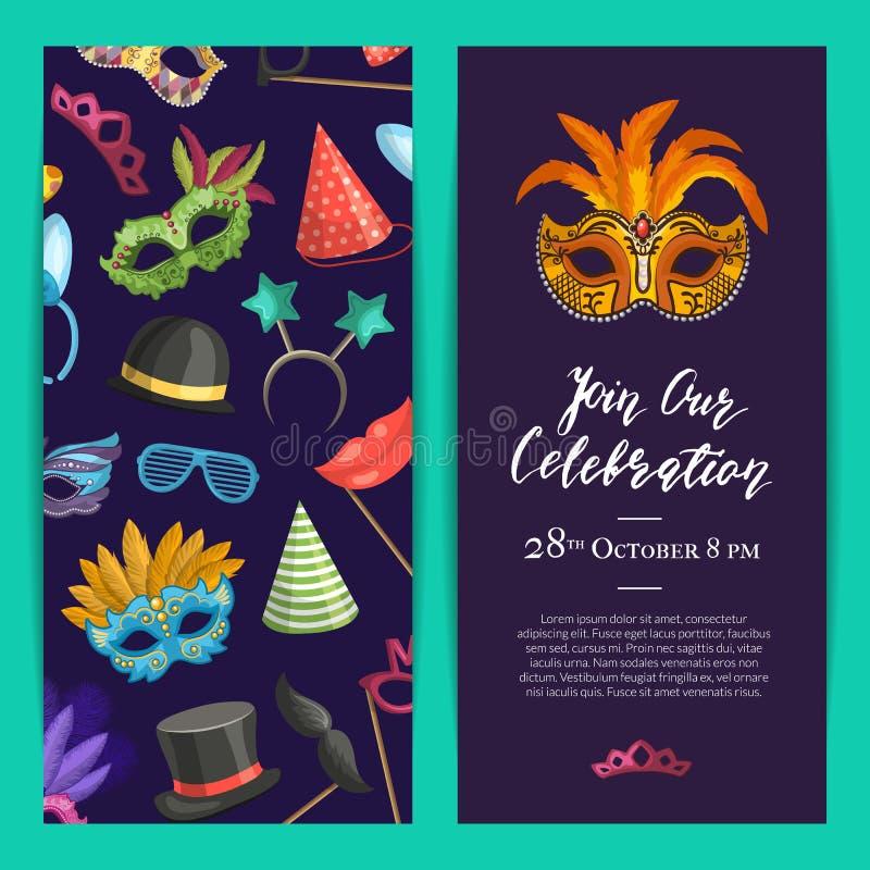 Dirigez le calibre d'invitation de partie avec des masques et faites la fête les accessoires illustration stock