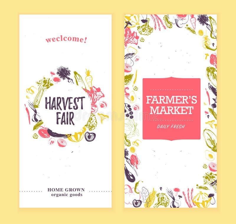 Dirigez le calibre de bannières du marché d'agriculteurs avec le cadre et le label rond Légumes crus tirés par la main de croquis illustration libre de droits