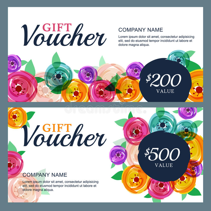 Dirigez le calibre de bon de cadeau avec les fleurs roses décoratives illustration stock