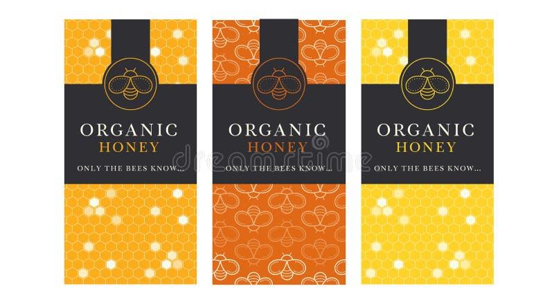 Dirigez le calibre de carte avec les emblèmes d'abeille de miel et le modèle sans couture illustration de vecteur