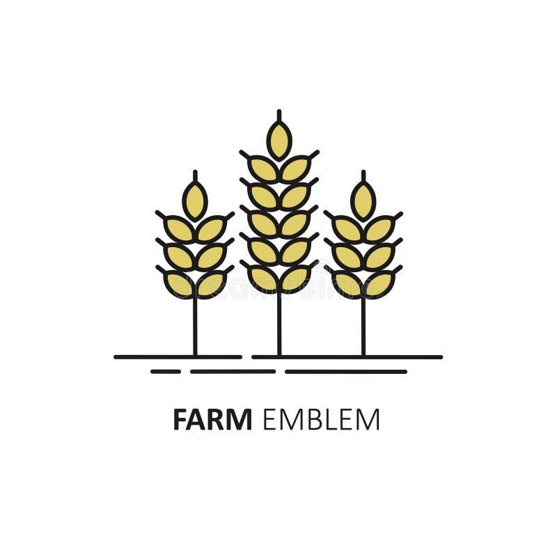 Dirigez le calibre de conception simple dans le style linéaire - oreilles de blé Transitoires de seigle Illustration d'isolement  illustration de vecteur