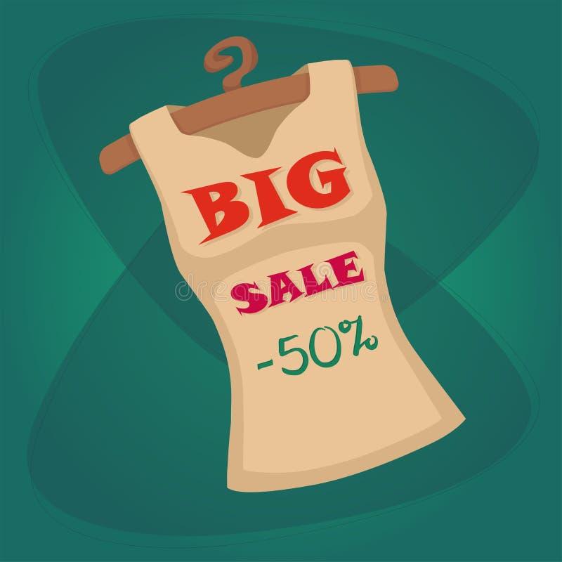 Dirigez le calibre de T-shirt de vente, illustration de conception de magasin de vêtements illustration libre de droits