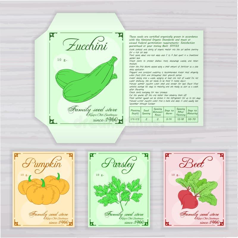 Dirigez le calibre imprimable du paquet de graine avec l'image, le nom et la description des légumes sur le contexte en bois Cont illustration de vecteur