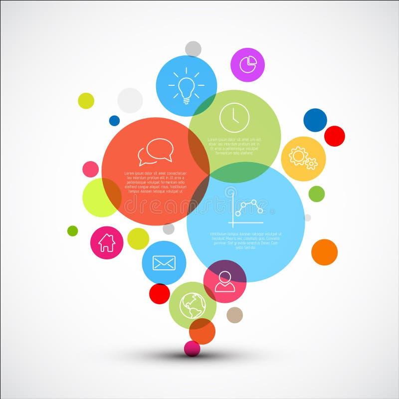 Dirigez le calibre infographic de diagramme avec de divers cercles descriptifs illustration de vecteur