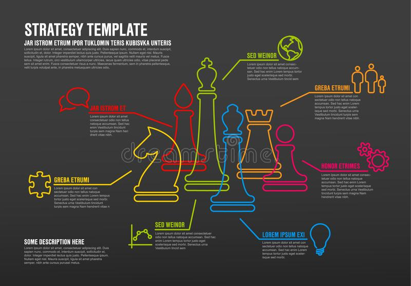 Dirigez le calibre infographic de stratégie commerciale avec la ligne mince chiffres d'échecs illustration stock