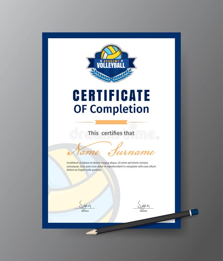 Dirigez le calibre pour le certificat de l'académie de formation de volleyball illustration libre de droits