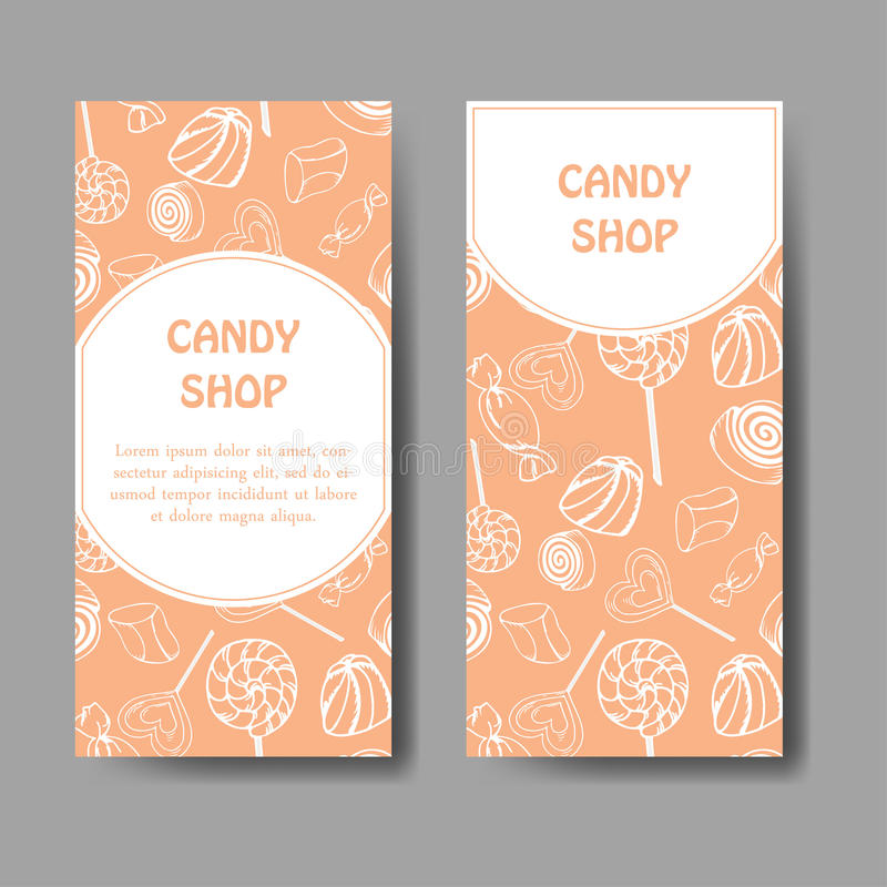 Dirigez le calibre pour la carte de visite professionnelle de visite avec les bonbons tirés par la main à sucrerie Affiche d'épic illustration stock