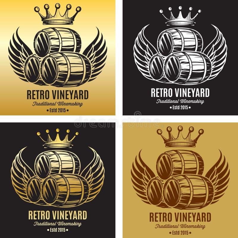 Dirigez le calibre pour la marque de marquage à chaud de bière ou de vin avec la couronne et les ailes ensemble d'illustration su illustration stock
