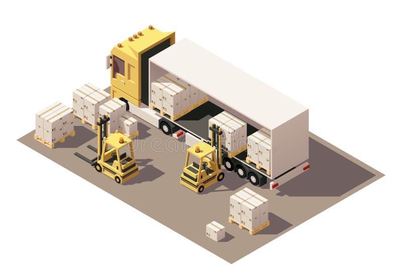 Dirigez le camion isométrique de semi-remorque de boîte de chargement de chariot élévateur avec des caisses sur l'icône de palett illustration libre de droits