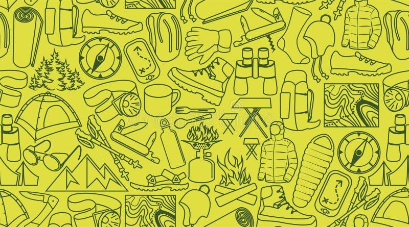Dirigez le camping et la ligne modèle sans couture de hausse de texture de fond d'icônes illustration libre de droits