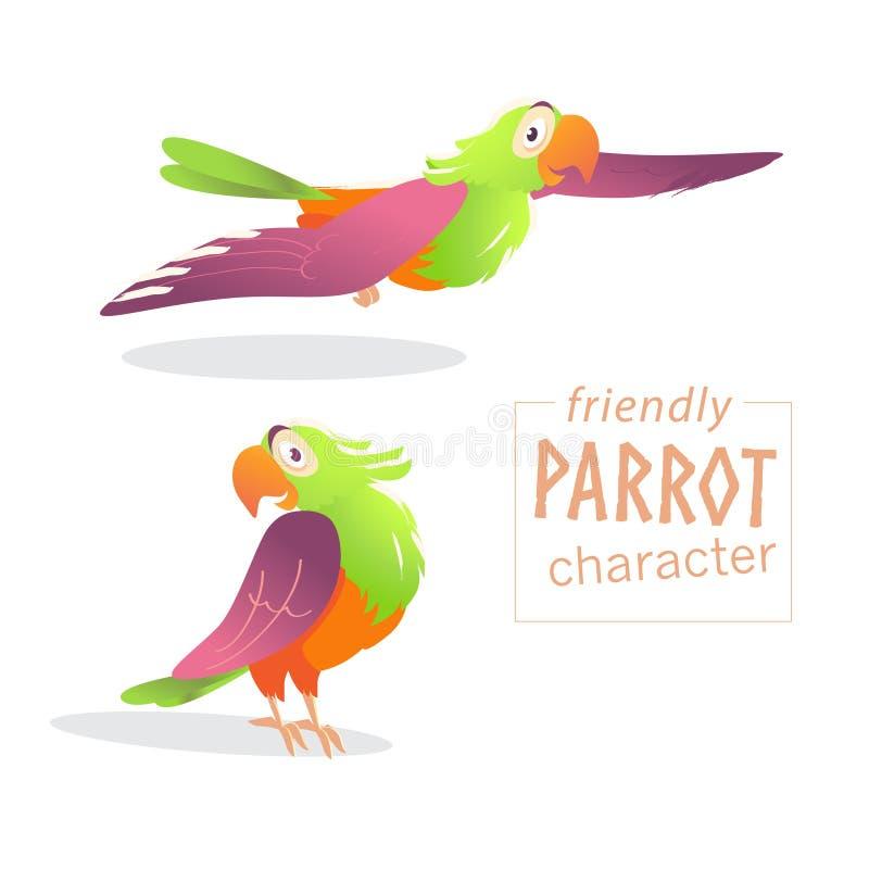 Dirigez le caractère amical d'oiseau d'isolement sur le fond blanc illustration de vecteur