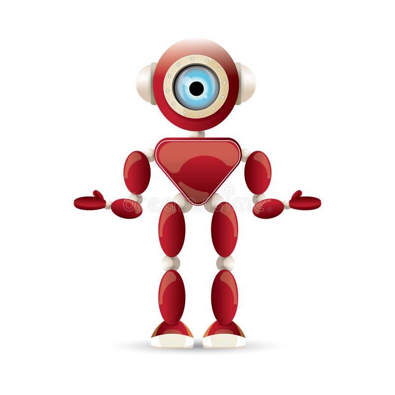 Dirigez le caractère amical rouge de robot de bande dessinée drôle d'isolement sur le fond blanc Badine le jouet du robot 3d Icôn illustration de vecteur